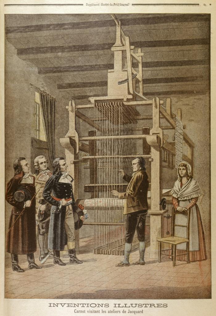 Жаккар демонстрирует одну из ранних версий своего ткацкого станка наполеоновскому министру Лазару Карно Репродукция из Le Petit Journal, 1901 г.